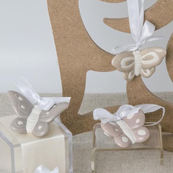Bomboniere Farfalle Matrimonio.Bomboniera Farfalle In Porcellana Con Nastrino Cm 5 Scatole