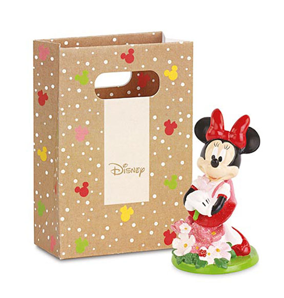 Bomboniera Disney Battesimo Minnie con fiori in resina con shoppers cm. 10
