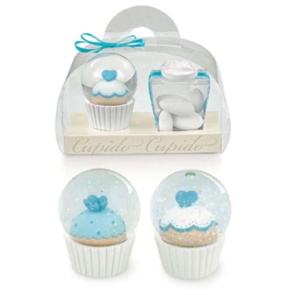 Bomboniera Matrimonio Azzurro : Bomboniera cupcake azzurro completa valigetta e