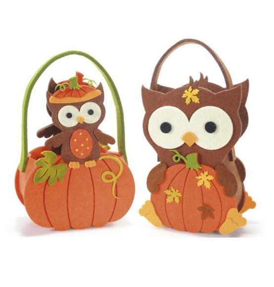 Borsetta halloween portaoggetti con zucca e gufo scatole
