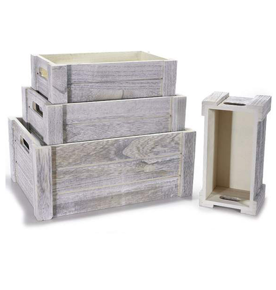 Favoloso 1 Set da 4 pezzi Cassette vintage decorative in legno anticato Ass  AU58