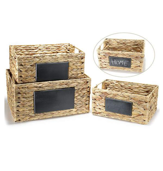 1 Set da 3Pz Cesto in materiale naturale con decorazione lavagna Ass. 3 misure cm 40 x 30 x 20 H Medio:34,5 x 24,5 x 18 H - Piccolo: 29,5 x 19,5 x 15 H
