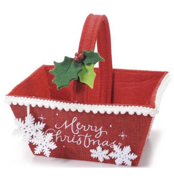 Cestino in panno rosso con decorazioni natalizie scatole - Decorazioni natalizie in feltro ...