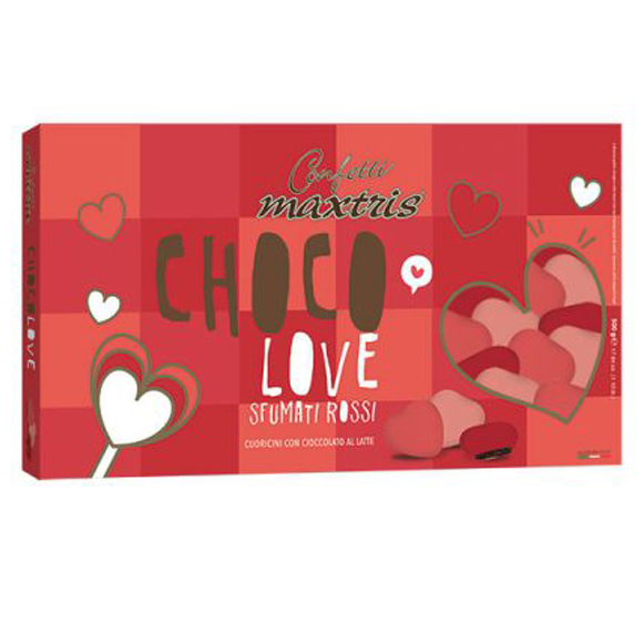 Confetti maxtris party choco love sfumati rossi 500 Gr
