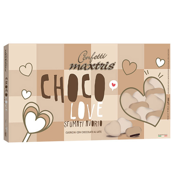 Confetti maxtris party choco love sfumati avorio 500 Gr