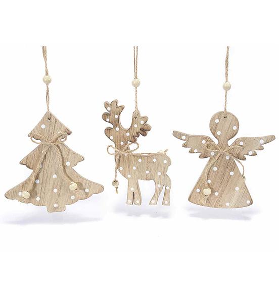 12pz decorazioni a pois di natale in legno da appendere for Decorazioni natalizie in legno da appendere