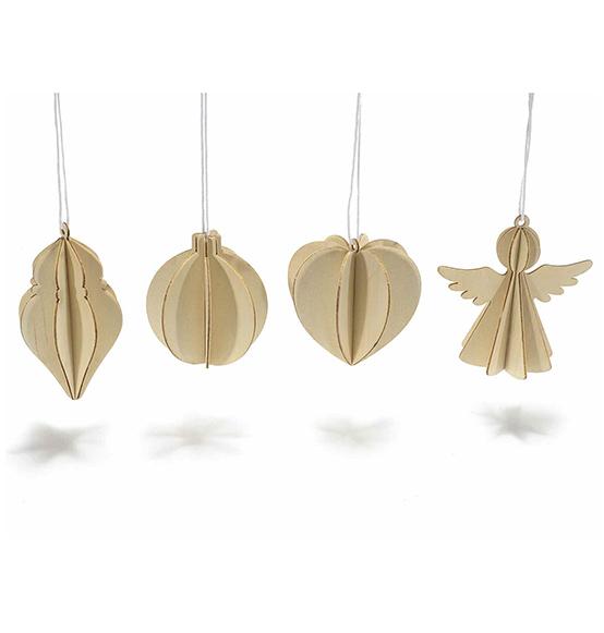 12pz decorazioni natalizie tridimensionali in legno for Decorazioni natalizie in legno da appendere