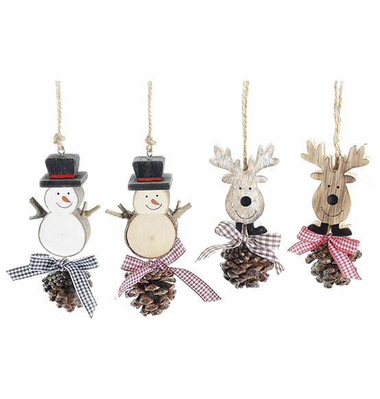 8pz decorazioni di natale a pupazzo di neve e renna in for Decorazioni natalizie in legno da appendere