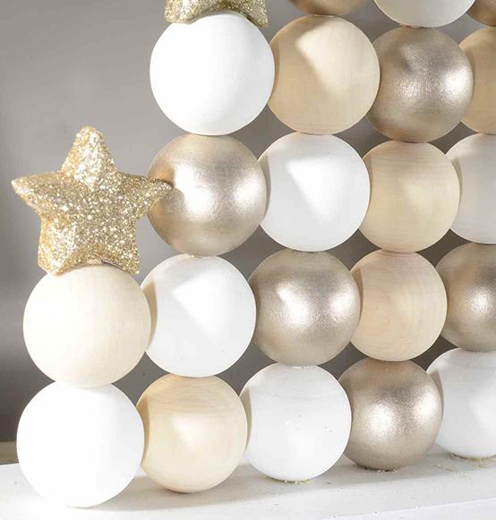 Preferenza Albero di Natale in legno con palline e stelle con glitter  SH37
