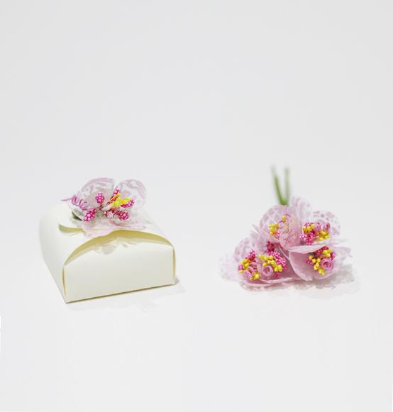 12pz Decorazione Mazzolino Di Fiori Rosa Per Bomboniera