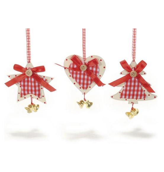 Estremamente Decorazione natalizia in legno e stoffa con campanellino, Scatole  OS75