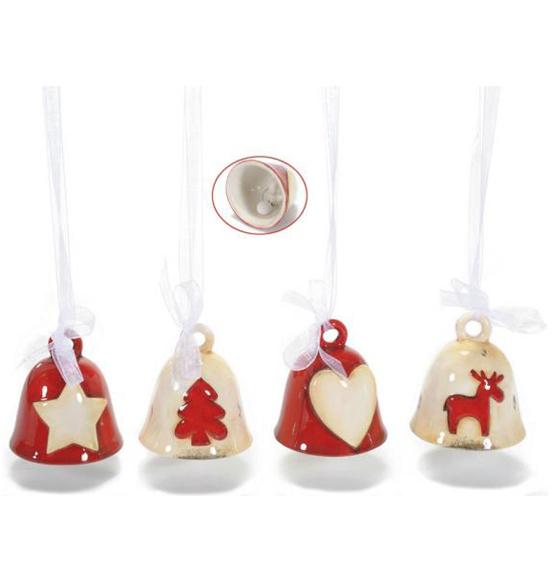 Decorazione natalizia campanella in ceramica rossa e crema for Decorazione ceramica