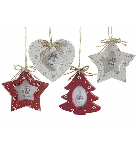 8pz portafoto natalizio in legno da appendere con fiocco for Decorazioni natalizie in legno da appendere