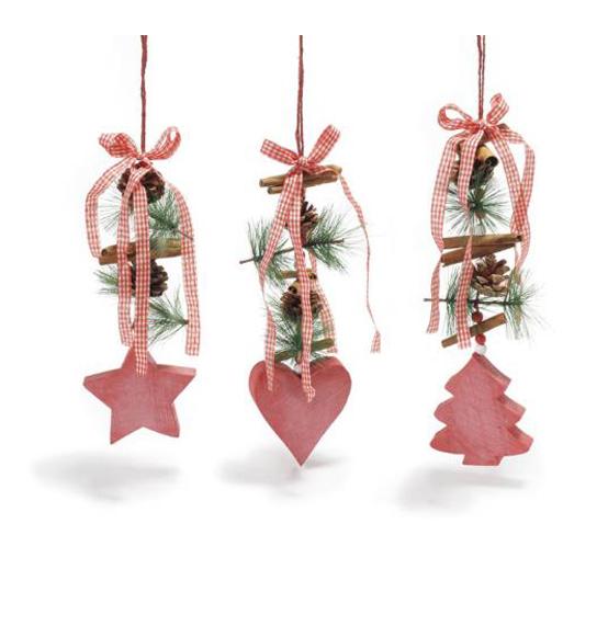 Decorazione natale in legno da appendere con pigne e for Decorazioni natalizie in legno da appendere