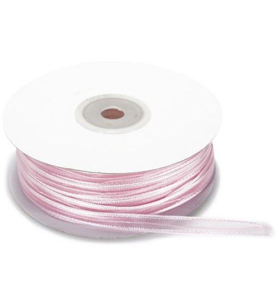 Nastro in velo con tirante rosa mm. 6x50mt