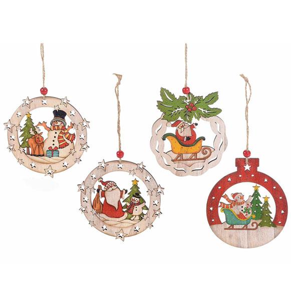 Addobbi Natale.12pz Decorazioni Addobbi Di Natale In Legno Con Personaggi