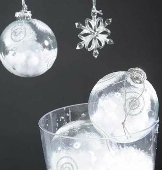 Pallina di vetro trasparente con neve e glitter scatole for Lampadario palline vetro