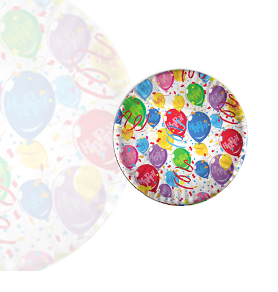 10pz. Piattini happy balloons in carta diam. cm. 18