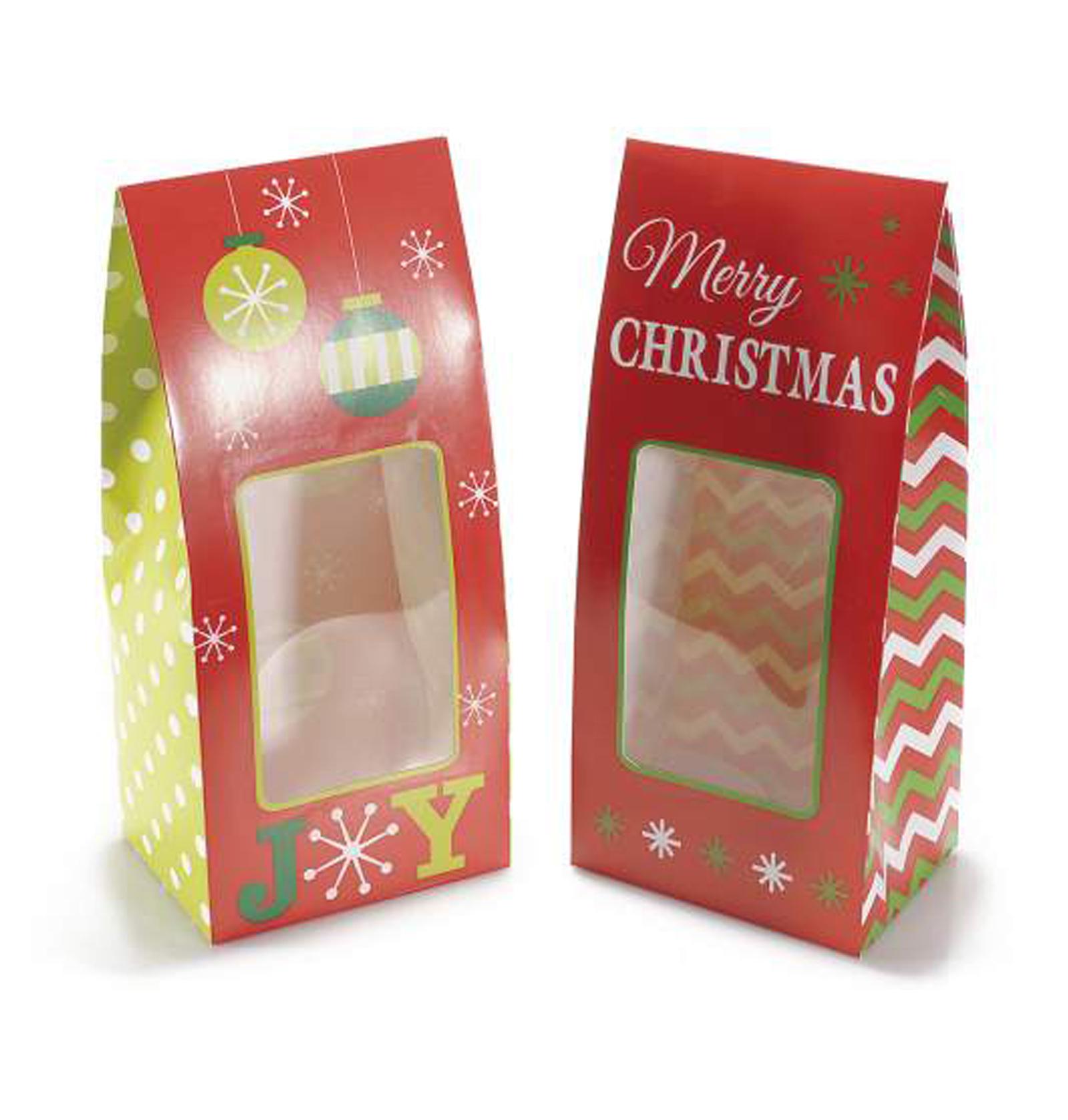 30Pz. Scatole regalo natalizia in carta colorata Merry Christmas