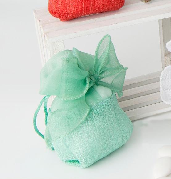 abbastanza Sacchettino portaconfetti in tessuto con fiocco verde tiffany cm  WM46