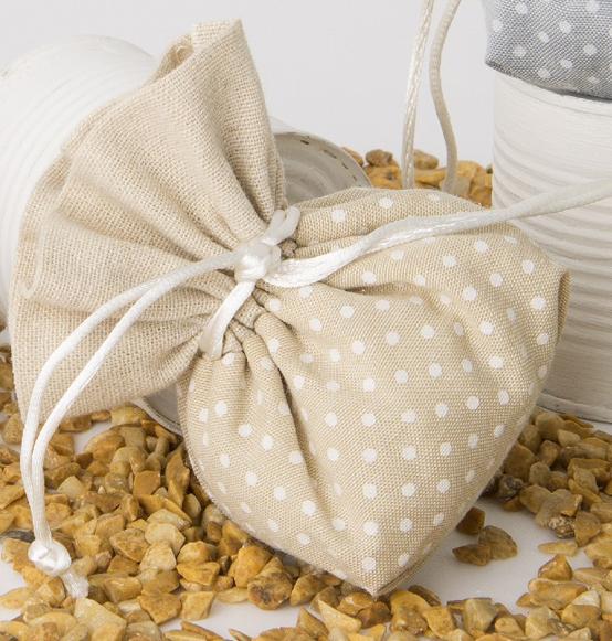 ... portaconfetti in tessuto tortora con pois bianchi in stoffa cm 10