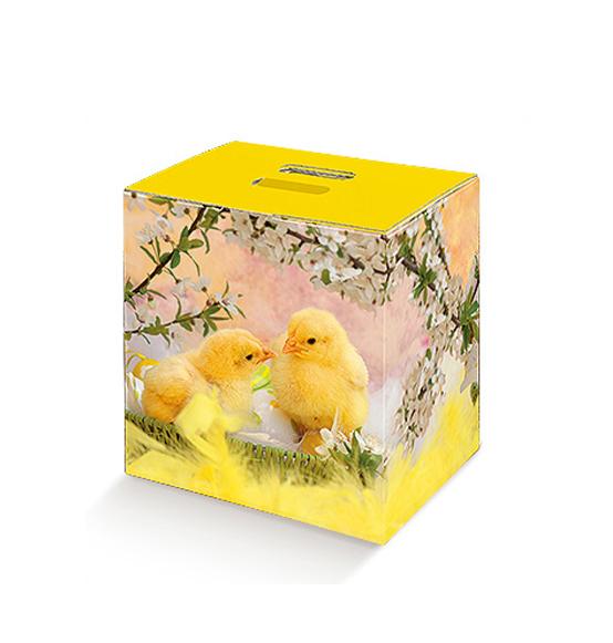 Pz scatola cubotto in cartone con pulcino pasqua