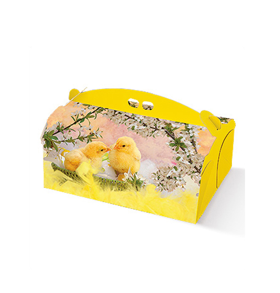 Pz scatola delizia in cartone con pulcino pasqua