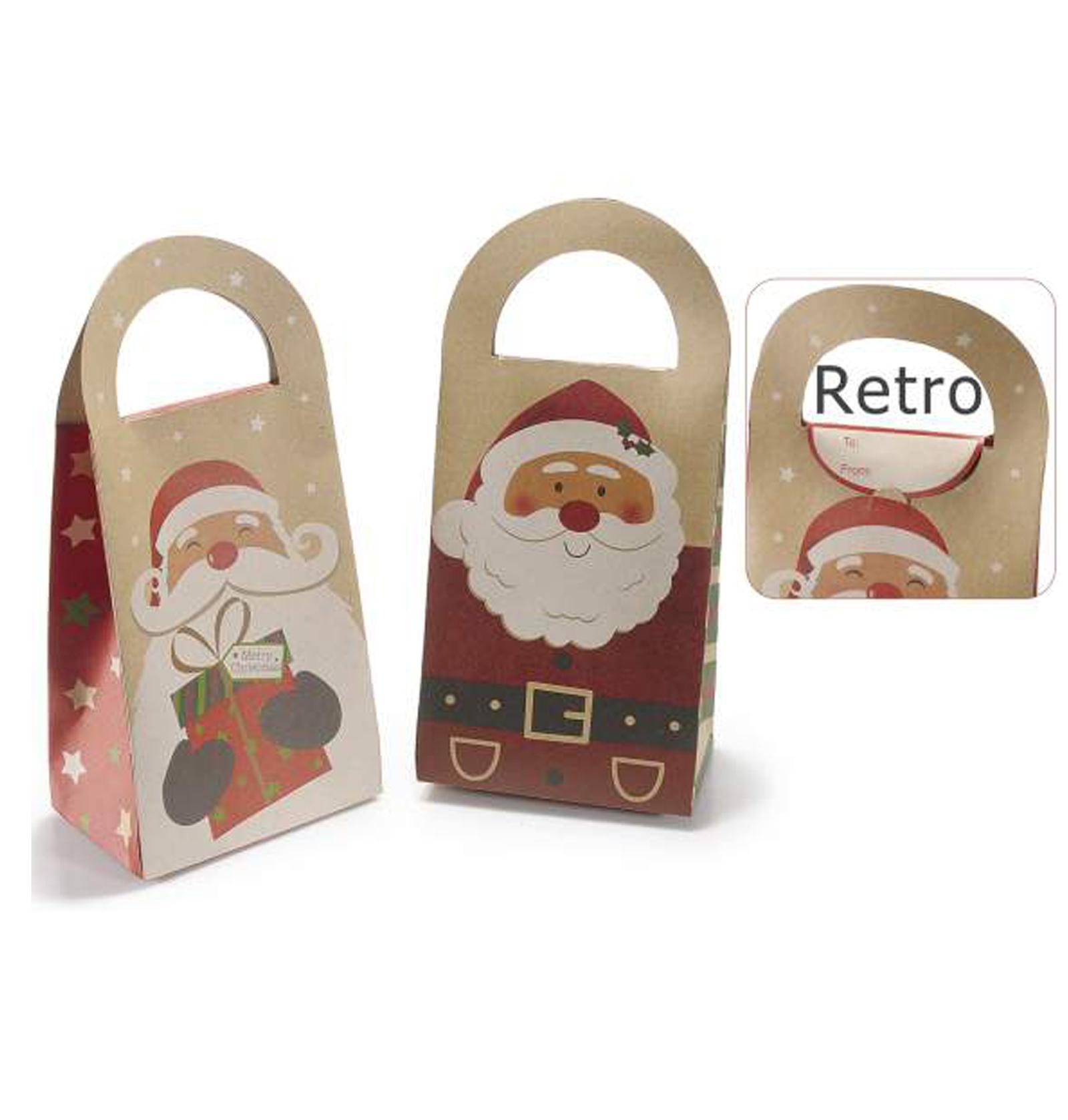 30Pz Sacchetto regalo natalizio in carta naturale con manico Babbo