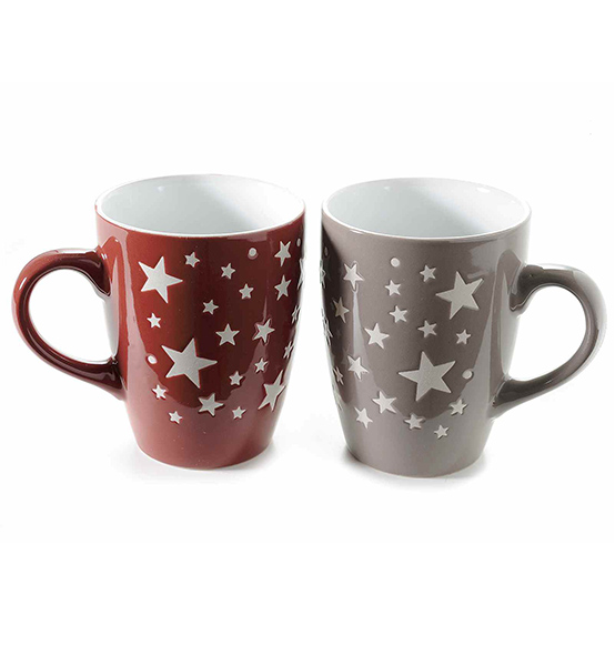 Set 6 pz. Tazze mug in ceramica con stelle decorative