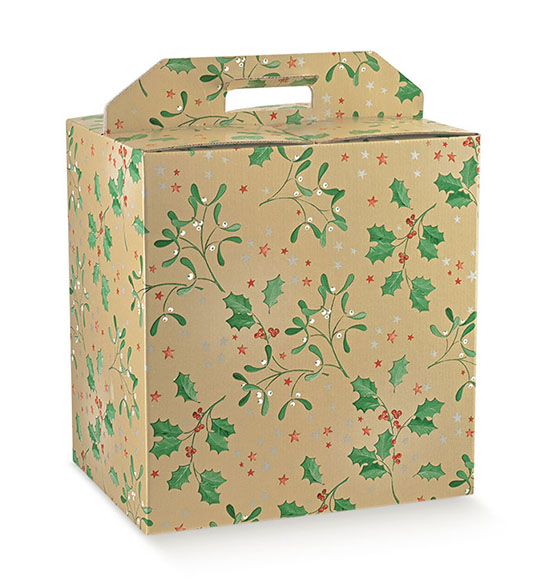 30pz. Scatola portapanettone + bottiglia Holly mm. 330x250x350