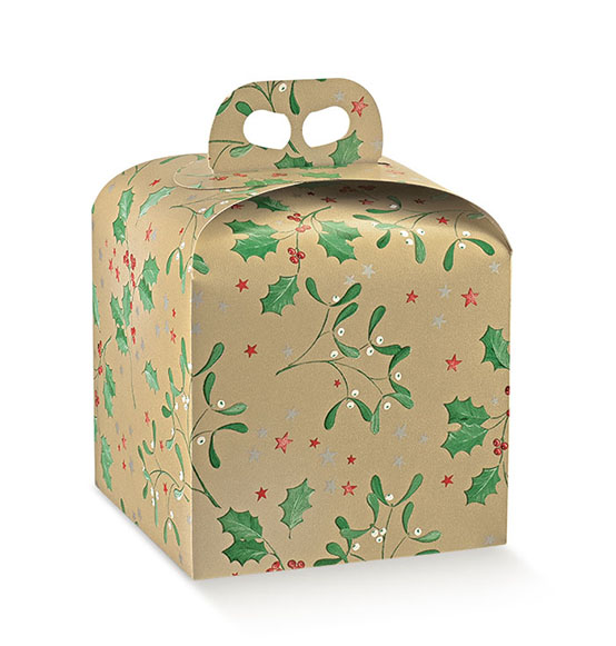 50pz. Scatola portapanettone Holly mm. 200x200x180
