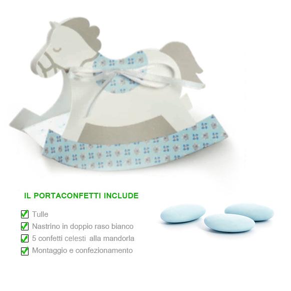 Scatola portaconfetti cavallino a dondolo celeste mm for Montaggio dondolo