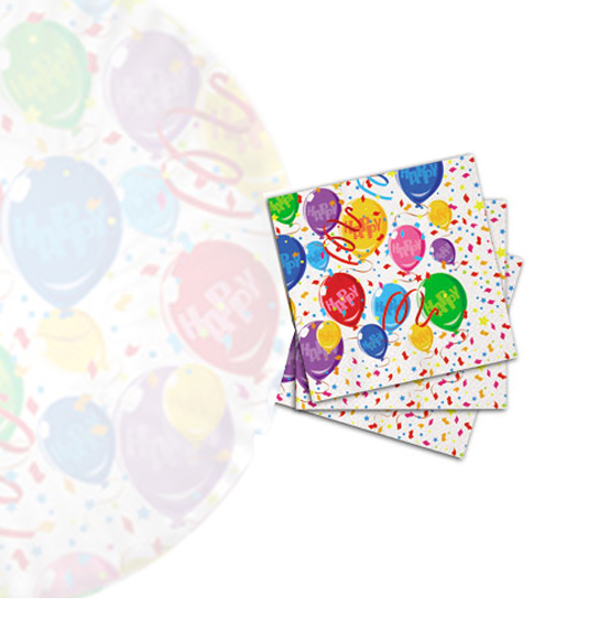 20pz. Tovaglioli happy balloons in carta cm. 33x33