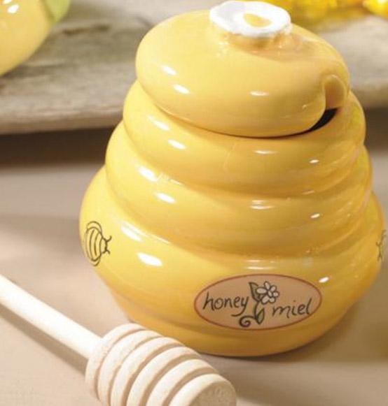 Famoso Barattolo porta miele in ceramica con cucchiaio in legno, Scatole  PP59