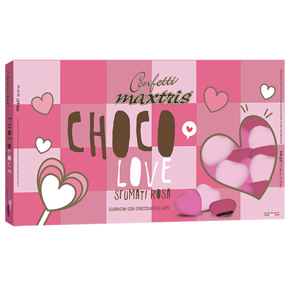 Confetti maxtris party choco love sfumati rosa 500 Gr
