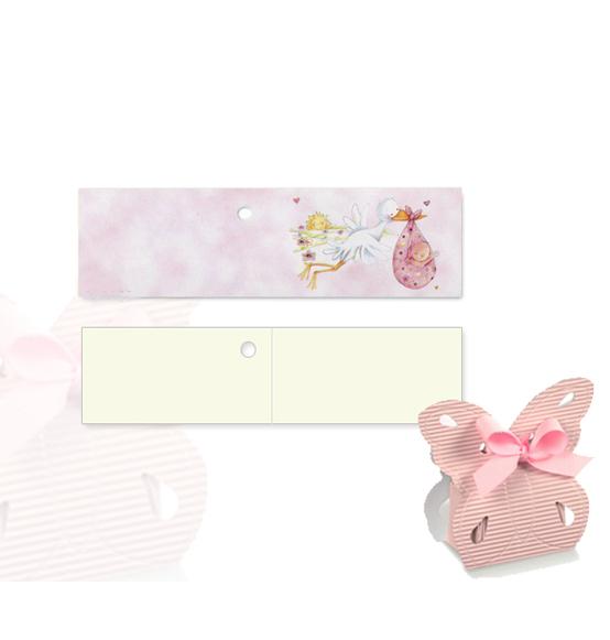 Top 200pz. Bigliettini per confetti battesimo cicogna rosa mm.45x25  BH56