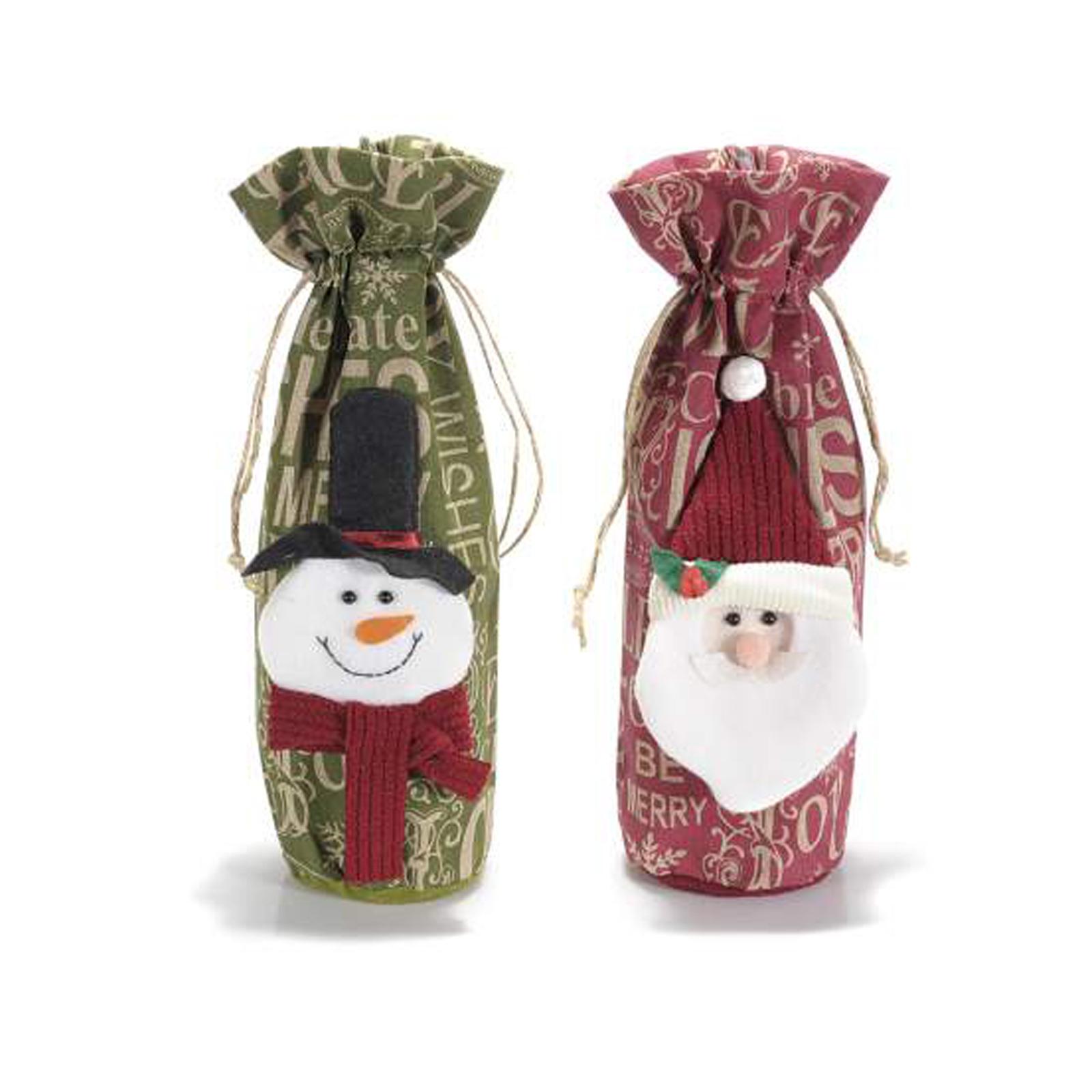 8pz sacchetto in panno con decorazioni natalizie e tirante ass 2 fantasie 9 5 cm x 33 h al - Decorazione natalizia per porta ...